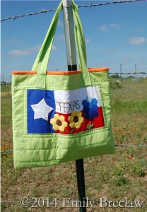 Texas tote on fence